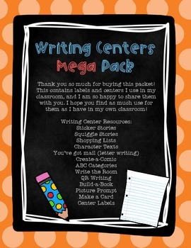 Year Round Writing Centers Mega Pack! Center Labels & Activities