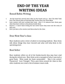 Year Round Writing Prompts and Ideas