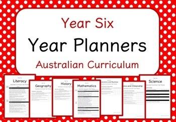 Year Six - Year Planners BUNDLE! (Australian Curriculum)