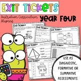 Year Four Math Exit Tickets - Australian Curriculum Aligne