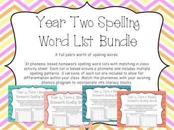 Year Two Spelling Word Lists Bundle - Australian