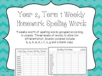 Spelling Word Lists. Year Two, Term One Homework/Activities - Australian