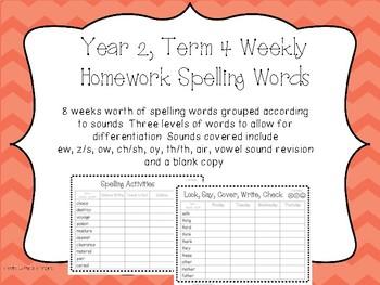 Spelling/phoneme Lists. Year Two, Term Four Homework/Activities - Australian