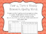 Spelling/phoneme Lists. Year Two, Term Four Homework/Activ
