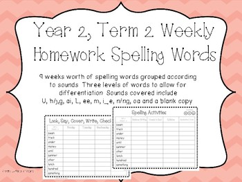 Spelling Lists. Year Two, Term Two Homework/Activities - Australian