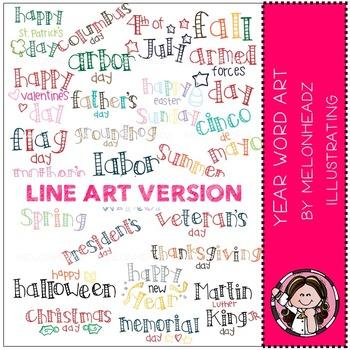 Year Word Art clip art - LINE ART - by Melonheadz