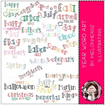Year Word Art clip art - COMBO PACK - by Melonheadz