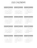 Year at a Glance - 2020 Calendar