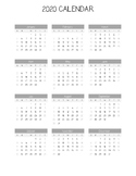 Year at a Glance - 2019 Calendar