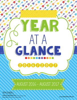 year at a glance calendar by tools to grow teachers pay teachers