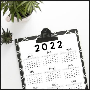 2019 Year At A Glance Printable Calendar Free Upgrades