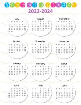 a year at a glance calendar