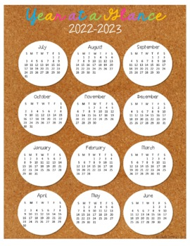 year at a glance calendars 2018 2019 by colleen alaniz tpt