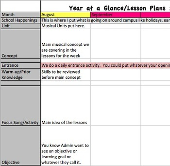 Year at a glance lesson plan template for music teachers tpt for Yearly lesson plan template