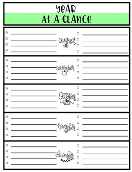 Year at a Glance Sheets