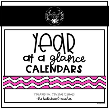 Year at a Glance planning calendars