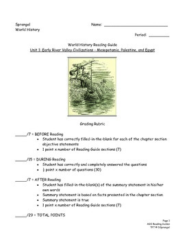 Year-long Reading Guide Packets for AGS World History (2008)