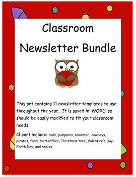Year long classroom newsletter bundle