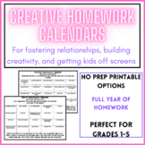 Year of Homework Calendars for Fostering Creativity & Building Relationships