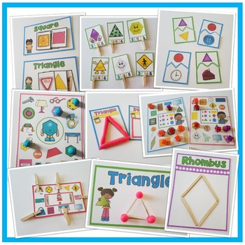 2-D SHAPES Year of Morning Math Tubs or Centers Set 2!