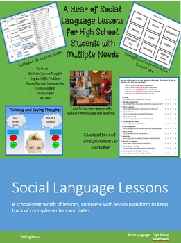 Year of Social Language Lesson Plans - High School Multineeds