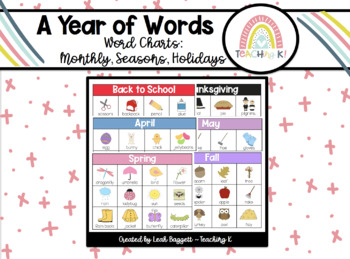 Word Charts for a Year: Work on Writing, Writer's Workshop, Journals, Centers