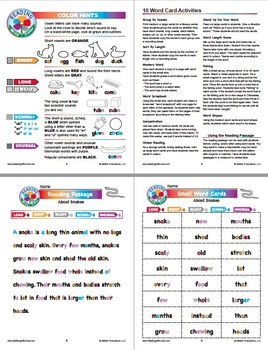 Reading With Color: Phonics Games & Word Cards About Snakes