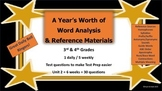 Year's Worth - Reading Review - Word Analysis & Reference Materials - Unit 2