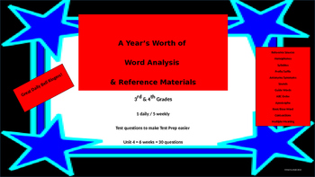Year's Worth - Reading Review - Word Analysis & Reference Materials - Unit 4