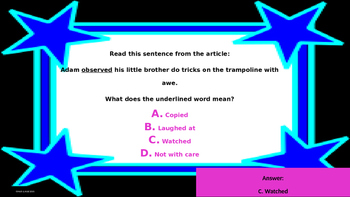 Year's Worth - Reading Review - Word Analysis & Reference Materials - Unit 5