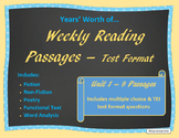 Year's Worth of Reading Practice Passages - Test Format - Unit 1