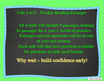 Year's Worth of Reading Practice Passages - Test Format - Unit 2
