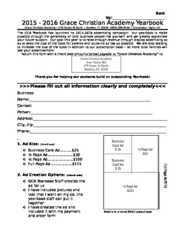 Yearbook Ad Form (Editable)