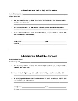 Yearbook Ad Refusal Questionnaire