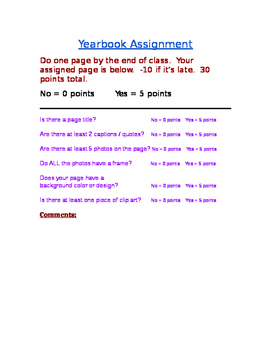 Yearbook Assignment Rubric (simple in WORD)