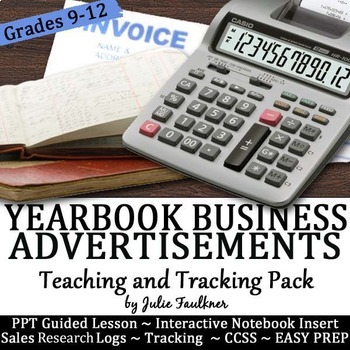 Yearbook Business Advertisements Teaching Pack, Tracker, Interactive Notebook