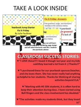 Yearbook Class 100 Days of Bell Ringer Class Starter Activities, Volume 2