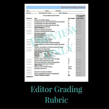 Yearbook Editor Self-Assessment & Grading Rubric