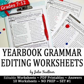 Yearbook Grammar Proofreading Worksheets Editable Digital Hybrid