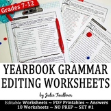 Yearbook Grammar Proofreading Worksheets, Editable, Set #1