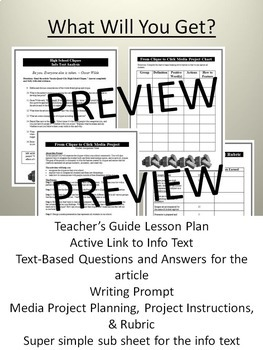 Yearbook Nonfiction Info Text Lesson/Photo Project, Hot Topics Cliques, Sub Plan