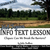 Yearbook Nonfiction Info Text Hot Topics Lesson with Photo Project: Cliques