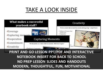 Yearbook Interactive Notebook Insert for Back to School Motivation w/ Guided PPT