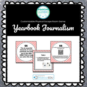Yearbook Journalism Customizable Escape Room / Breakout Game