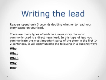 Yearbook Lesson: Writing Direct Leads