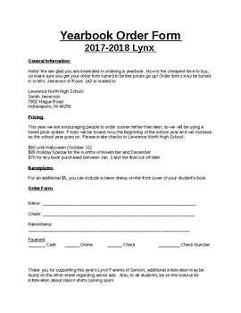 yearbook order form template  Yearbook Order Form Worksheets & Teaching Resources | TpT