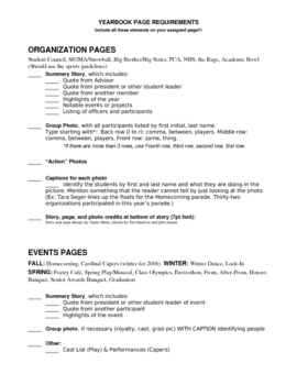 Yearbook Page Requirements Checklist for Journalism Students