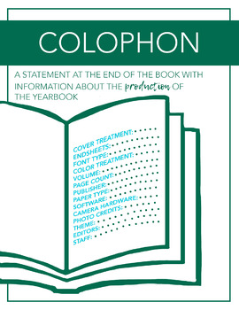 Yearbook Printable Poster, What is a Colophon, Journalism Classroom Decor