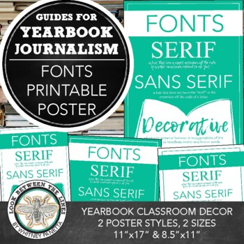 graphic about Fonts Printable titled Yearbook Printable Poster upon Font Patterns: Serif, Sans Serif, and Attractive Fonts