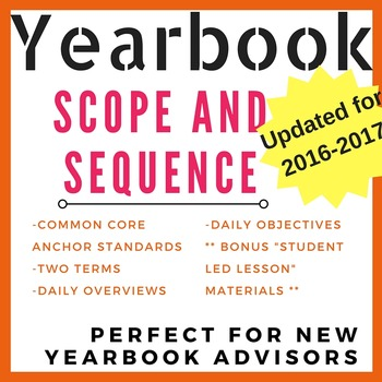 Yearbook Scope and Sequence & Daily Outlines {Updated for 2016-2017}